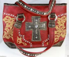 Country Road Fashion Red Purse Rhinestone & Silver Studded Cross Inside Pockets