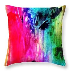 Luxe Splash Throw Pillow for Sale by Rachel Maynard Mixed Media Artwork, Pillow Sale, Basic Colors, Poplin Fabric, Doodle Art, Color Show, Pillow Inserts, Colorful Backgrounds, Doodles