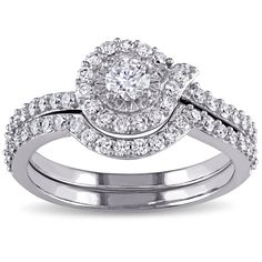 Miadora Signature Collection 10k White Gold 3/4ct TDW Swirl Diamond Promise Bridal Ring Set (G-H, I2-I3) (Size 8.5), Women's