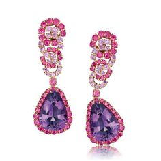 Verdura | amethyst, ruby, pink sapphire and gold, | EARCLIPS | GEMSTONE | Cascade Earclips