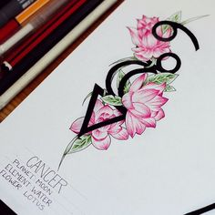 A few years back I did a whole small collection of zodiac signs illustrations, but they lacked in detail. So I am doing them again. This is the zodiac Cancer. The three symbols from top to bottom are, the symbol for cancer, their ruling planet the moon and their element which is water. The flowers are lotus, which again, is the flower that represents cancer.