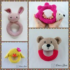 Super cute rattles! Lots more cute patterns. http://www.oneandtwocompany.com