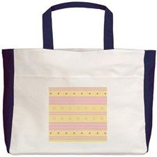 Striped rose and yellow background with Beach Tote