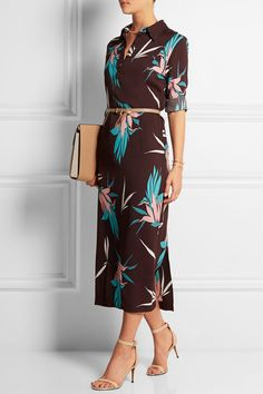 Marni Printed crepe midi dress $1,560  Marni's burgundy dress is printed with a colorful bird of paradise pattern. This versatile style is crafted from fluid crepe and cut to a demure midi length - style it with heels or flats to suit the occasion. Wear yours loose or cinch the waist with a belt.