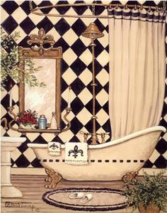 """Elegant Bath I,"" includes an old fashioned black and white tile along the walls. A claw foot tub, an antique shower curtain, porcelain tub, large mirror, bath rug with slippers, and plants. This paper print is hand by the artist, Janet Kruskamp."