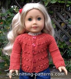 Sport Ravelry: American Girl Doll Country Style Autumn Cardigan pattern by Elaine Phillips Knitting Dolls Clothes, Baby Doll Clothes, Crochet Doll Clothes, Knitted Dolls, Doll Clothes Patterns, Diy Clothes, Comfy Clothes, American Girl Outfits, American Doll Clothes
