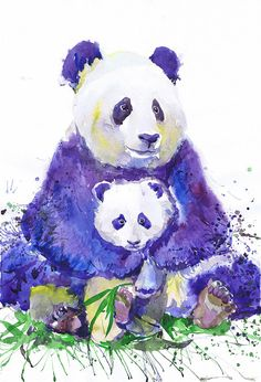 """Valentina RA """"Panda with baby"""" high quality fine art print of my original watercolor painting. It is the work of a watercolor series """"Portraits of the Heart """""""