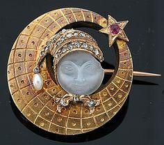 """Un """"Hombre en la luna 'antiguo broche, la luna creciente grabado ... - Broches - Joyería - Guía de precios de Carter Antigüedades y Coleccionismo"""