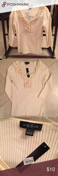 August silk top nwt August silk top nwt size large! Sorry alittle wrinkled in pic and surely doesn't do this top justice! It's super pretty and great for work or any day wear ! Bundle to save more and only pay one cost of shipping on bundle of multiples ! august silk Sweaters V-Necks