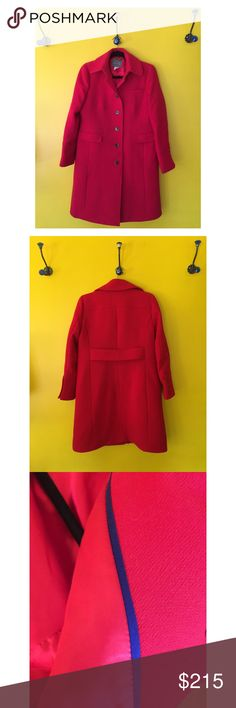 """JCrew double cloth red metro coat with thinsulate Beautiful """"Authentic Red"""" J. Crew Double Cloth Metro Coat with Thinsulate.  Knee length, pockets are front flap on the sides and one breast pocket. Great for work and casual wear.  Fully Lined in a red very smooth satin like fabric with cobalt piping.  Measurements laying flat: Chest: 20  Length: 37 1/2  Purchased at J Crew new and it no longer fits.  NWOT J. Crew Jackets & Coats"""