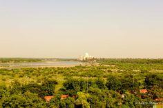 o Taj Mahal visto do Forte de Agra