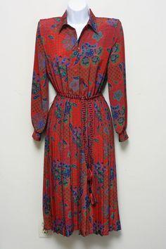 Lady Carol Petite New York Vintage 1980's Red Secretary Paisley Dress Size 6 #LadyCarolPetites #EmpireWaist