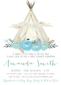 boho boy baby shower invitation  tee pee pow wow  kirrareynadesigns.etsy.com