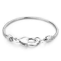 4d3b46bc8 Snake Charms Snake Chains Snake Bracelets 6. 7 Inch Heart Lock Snake  Bracelet, Charms Beads, Bracelets | Pugster.com