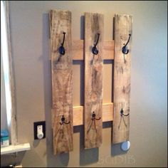Too cute! Great ideal!! Pallet art to hang towels