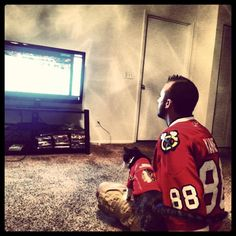 That's really cute, but there's gotta be a cute Blackhawks fan out there for this guy.