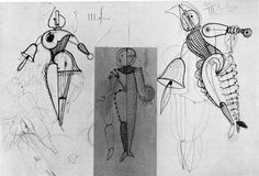 Some other Triadic Ballet drawings, showing interesting geometric lines mixing in the same piece.