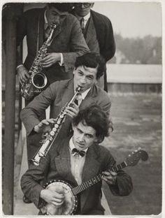 T. Lux Feininger, DEPHOT (Deutscher Photo-Dienst, Berlin), Members of the Bauhaus band with Oskar Schlemmer (on top, cut off, beneath: Werner Jackson, Xanti Schawinsky, Hermann Clemens Röseler), c. 1928