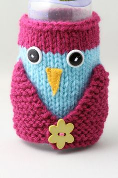 Owl Baby Bottle Cozy  Magenta and Aqua by HandaMade on Etsy, $18.00