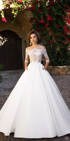 Beautiful Allegresse Wedding Dresses For Your Big Day ❤ aline with lace off shoulder 3 4 sleeves allegresse wedding dresses ❤ Full gallery: https://weddingdressesguide.com/allegresse-wedding-dresses/