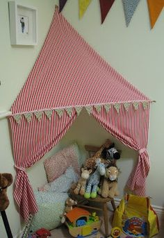 How cute is this! Fabric HQ: Circus Inspired Corner Tent, suitable for small roo… How cute is this! Fabric HQ: Circus Inspired Corner Tent, suitable for small roo…,Kids How cute is this! Girl Room, Girls Bedroom, Reading Tent, Reading Nooks, Book Nooks, Ideas Habitaciones, Ikea Kura, Small Room Design, Toy Rooms