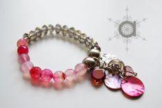 Half and half bracelet, pink and grey bracelet, stretch bracelet, charm bracelet, pink bracelet, grey bracelet
