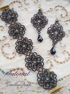 Check out Black lace jewelry.PDF Tatting Pattern Tamara set earrings and bracelet frivolite pattern tatting instruction tatting with beads earrings on emeliebeads Bracelet Tatting, Tatting Earrings, Tatting Jewelry, Lace Earrings, Lace Jewelry, Tatting Lace, Crochet Bracelet, Beaded Jewelry Patterns, Beading Patterns
