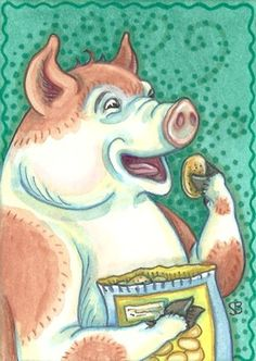 """PIGGING OUT""  Pigs can't eat just one potato chip.  Me neither! Original Swine Art by Susan Brack ACEO EBSQ CP Licensing"