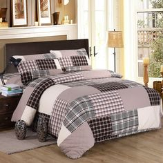 CHAUSUB Plaid Cotton Patchwork Quilt Set 3pcs Duvet Cover Quilted Bedspread Quilts Bed Cover Bedding set King bed linens blanket #Affiliate