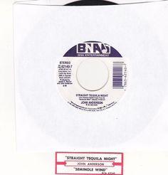 "John Anderson / Straight Tequila Night / Seminole Wind / 7"" Vinyl 45 Record & Jukebox Strip #JohnAnderson #Music"