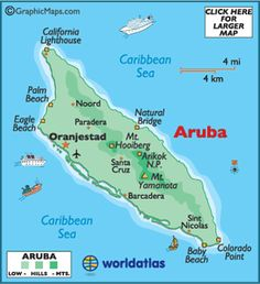Map of Aruba, Aruba Map, Oranjestad, Map of Caribbean Islands Vacation Places, Vacation Destinations, Dream Vacations, Places To Travel, Southern Caribbean, Caribbean Cruise, Caribbean Sea, Barbados, Aruba Jamaica