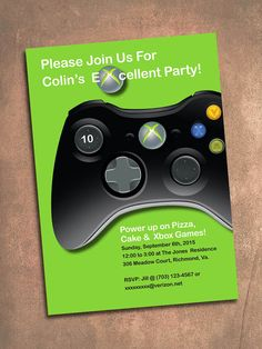 XBox Birthday Party Invite Digital File 5 X 7 By FrillyJillyDesign Xbox