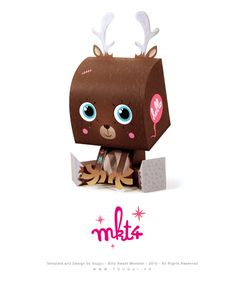 Reindeer Paper Toy Free Downloadable Christmas Craft for Hipsters
