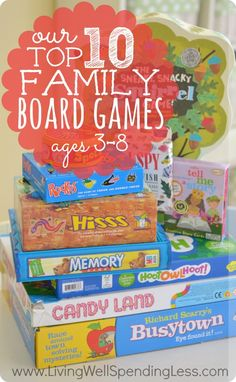 Our Top 10 Family Board Games. Awesome review of ten wonderful family games that are fun for kids AND adults. Includes details on each games with ratings by both kids & parents. Such a great resource!
