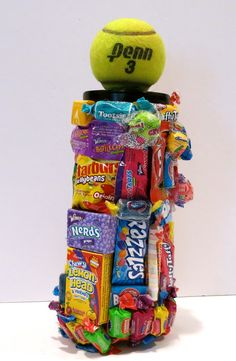 Can of Tennis Balls Covered In Candy!!  Great gift for tennis lover!