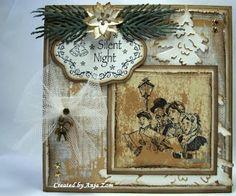 Anja Zom kaartenblog: juli 2013 Vintage Christmas, Christmas Cards, Mama Elephant, Marianne Design, Silent Night, Card Maker, Lawn Fawn, Vintage Cards, Rustic