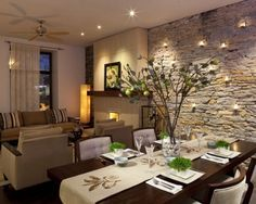 comedores con paredes de piedra