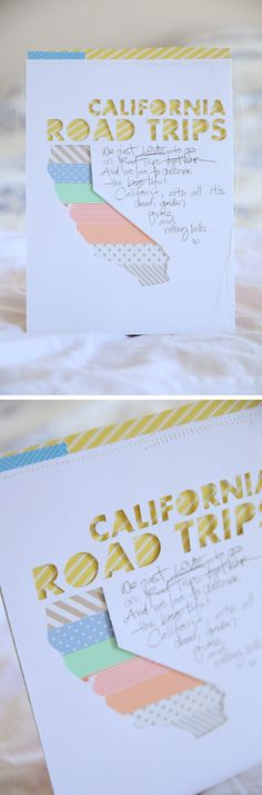 This is a fantastic idea! Cut out the state, and then have layers of paper (washi tape?) undernearth.