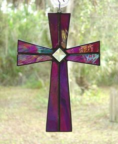 Iridescent Purple Stained Glass Cross with glass Bevel EASTER GIFT