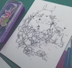 Work in progress!it needed to happen. I am excited for this one! Studio Ghibli Art, Studio Ghibli Movies, Art Drawings Sketches, Cute Drawings, Totoro Drawing, Ghibli Tattoo, Arte Sketchbook, Art Corner, Anime Tattoos