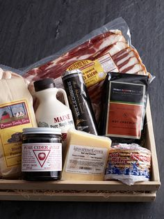 Brunch Gift Basket from iGourmet [includes: hand-ground hot chocolate, organic Maine maple syrup, Kentucy bacon, Irish-style sausages, stroop waffles, Red Leaf cheddar, cider jelly, and double Devon cream butter]