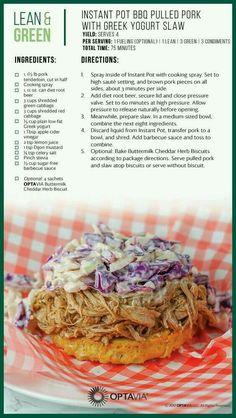 Instant Pot BBQ Pilled Pork with Greek Yogurt Slaw medifastrecipes Medifast Recipes, Pork Recipes, Cooking Recipes, Healthy Recipes, Lean Recipes, Recipies, Yummy Recipes, Free Recipes, Yummy Food