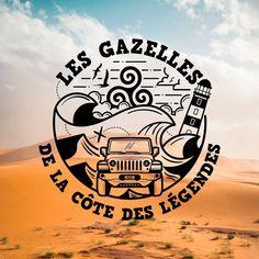Partenariat créatif avec les intrépides gazelles bretonnes de la Côte des Légendes qui prendront la route en 2023 pour le Rallye Aïcha des Gazelles du Maroc. Logos, Sports, Rally, Morocco, Hs Sports, Logo, Sport