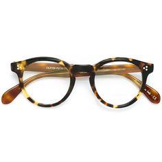 Oliver Peoples 'Feldman' glasses ($320) ❤ liked on Polyvore featuring accessories, eyewear, eyeglasses, brown, tortoise eye glasses, metallic glasses, oliver peoples, tortoiseshell eyeglasses and oliver peoples eyewear
