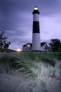 Big Sable Point Lighthouse in Ludington State Park - Ludington, Michigan Ludington State Park, Ludington Michigan, Lake Michigan, Lighthouse Pictures, Beacon Of Light, Am Meer, Photography Photos, Scenic Photography, Night Photography