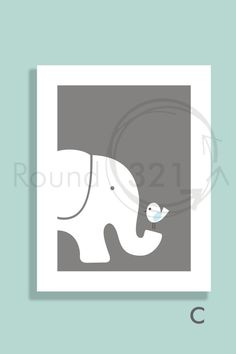 "Stacked Elephant Print Set  C - 1 Elephant Print 8.5"" X 11"" - Infant Bedroom Playroom Decor- Wall Art- Nursery Decor"