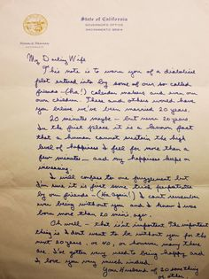 precious letter from Ronald Reagan to Nancy, his wife