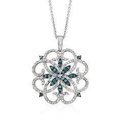 """Ross-Simons - .76 ct. t.w. Blue and White Diamond Scrolling Medallion Pendant Necklace in Sterling Silver. 18"""" - #826515"""