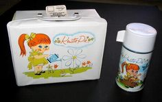 Vinyl Lunch Box with Thermos - it's been a lot of years, but I think this is exactly what my 1st grade lunch box looked like (1965).