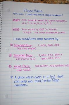 dandelions and dragonflies: 5th grade Math Notebooks Place Value...